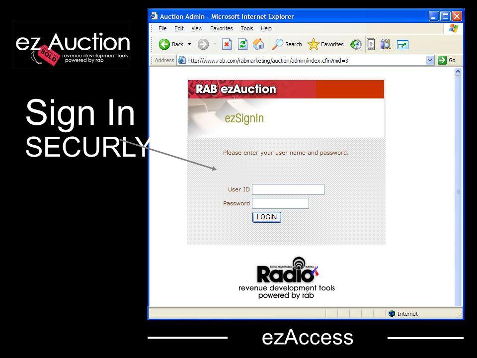 ezAdministration The ezAuction administrative menu helps you navigate through auction set up.
