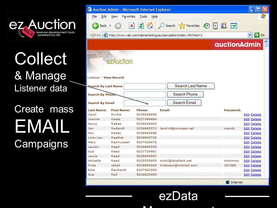 ezAuction also Processes Orders Monitors bidding Issues reports - Ad credit - Sales Tax Prints inventory Manages transactions Sends email Prints certificates ezAdministratio n