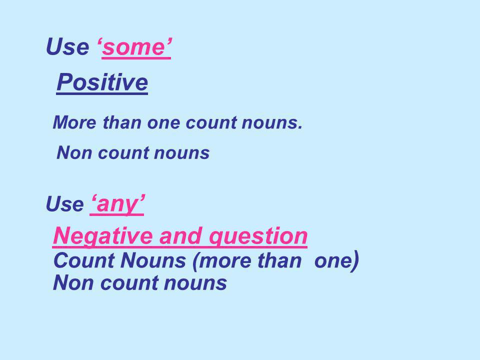 COUNT and NON COUNT NOUNS Positive + I have ___ orange.