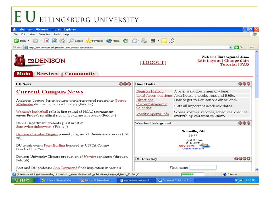 Why a Portal at EU Easier for every stakeholder to carry out her or his role in the institution Communication and cooperation are a priority at liberal arts institutions Todays liberal arts undergraduates have come to expect this type of technology Current website does not offer these capabilities, even after overhaul Millichap, 2003, p.