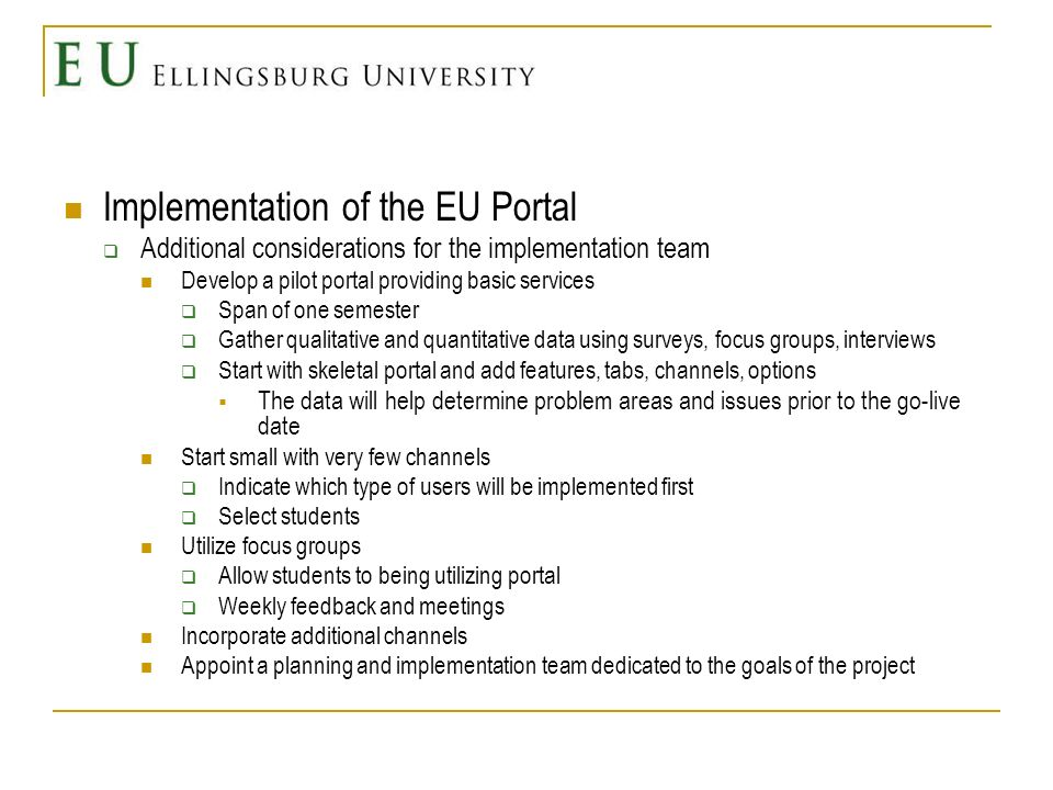 Implementation of the EU Portal Additional considerations Initial cost Will portal be developed internally or contracted by an outside source.