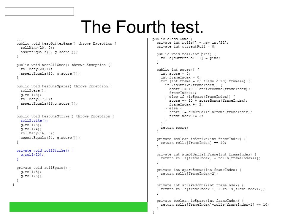 The Fifth test....