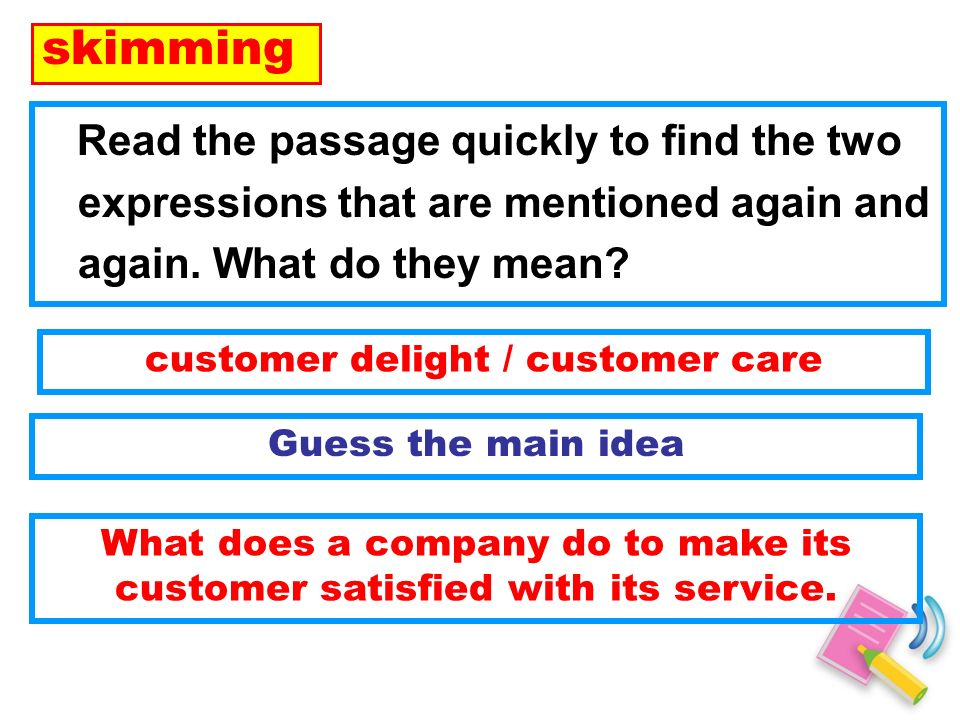 Read the passage quickly to find the two expressions that are mentioned again and again.