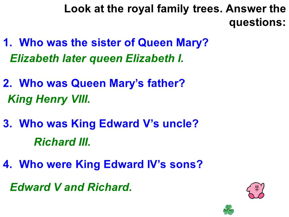 King Edward IV King Edward V King Richard III King Henry VII King Henry VIII Edward VI Mary Elizabeth I Listen to tape and tick the ones you hear about at the following list of English kings and queens.