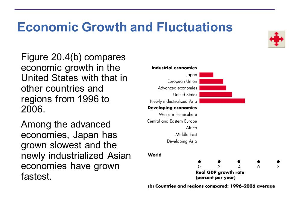 Economic Growth and Fluctuations Among the developing economies, Central and South America have grown slowest and Asia has grown fastest.