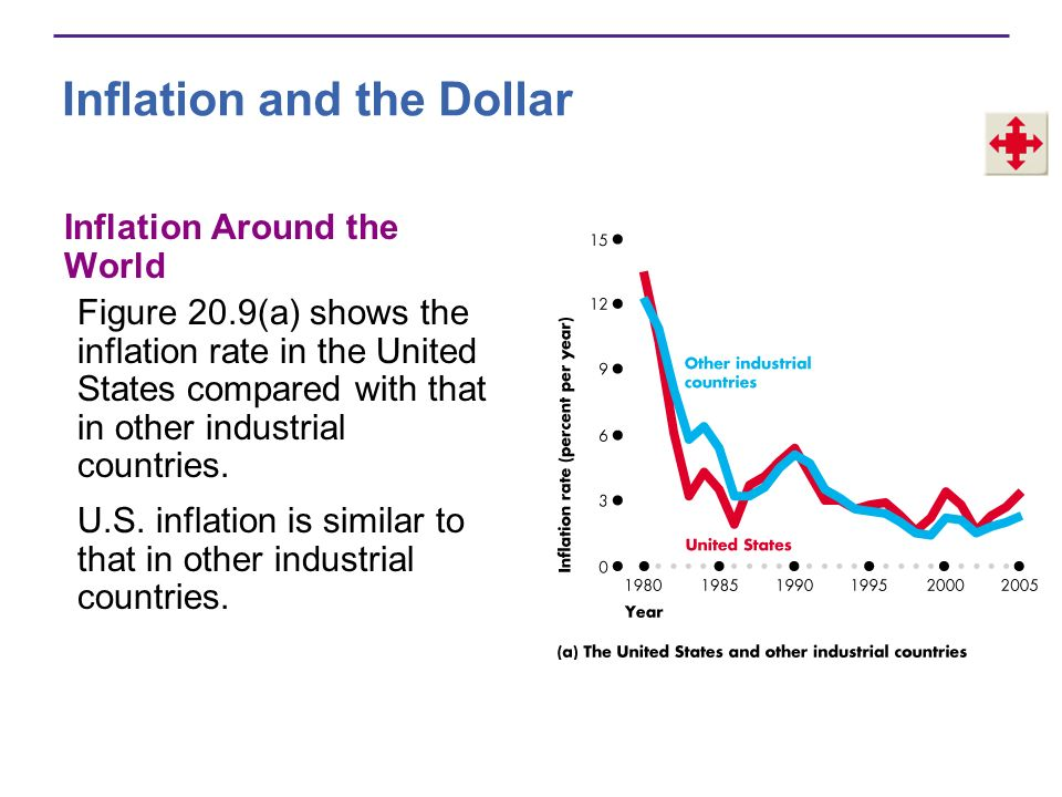 Inflation and the Dollar Figure 20.9(b) shows the inflation rate in industrial countries has been much lower than that in developing countries.