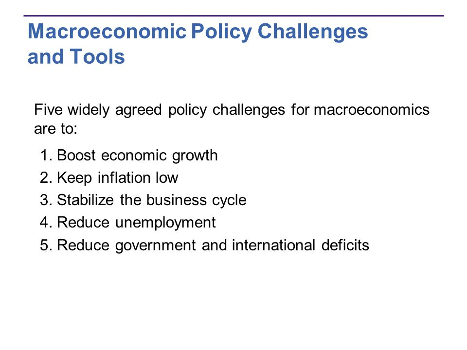 Macroeconomic Policy Challenges and Tools Two broad groups of macroeconomic policy tools are Fiscal policymaking changes in tax rates and government spending Monetary policychanging interest rates and changing the amount of money in the economy The government conducts fiscal policy.