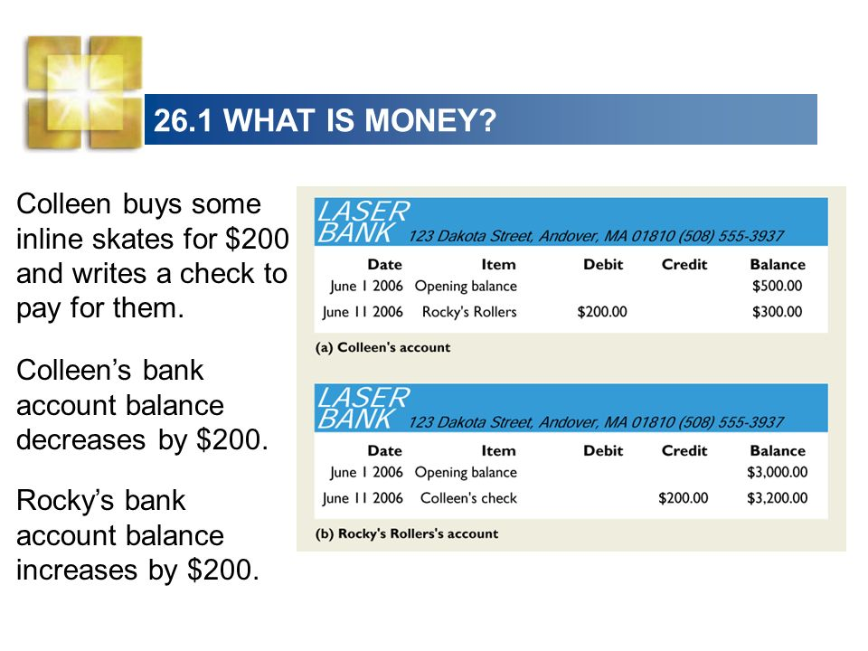 26.1 WHAT IS MONEY? The bank deposits are money, but the check is not money.