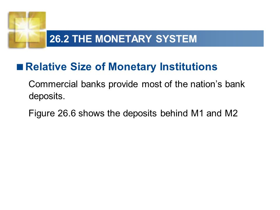 26.2 THE MONETARY SYSTEM More than one half (52 percent ) of M1 consists of currency.