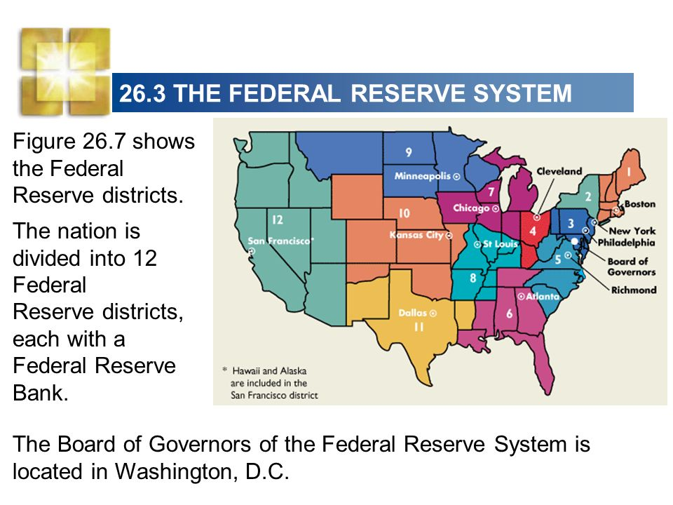 26.3 THE FEDERAL RESERVE SYSTEM The Structure of the Federal Reserve System The key elements in the structure of the Federal Reserve are: The Board of Governors The Regional Federal Reserve Banks The Federal Open Market Committee