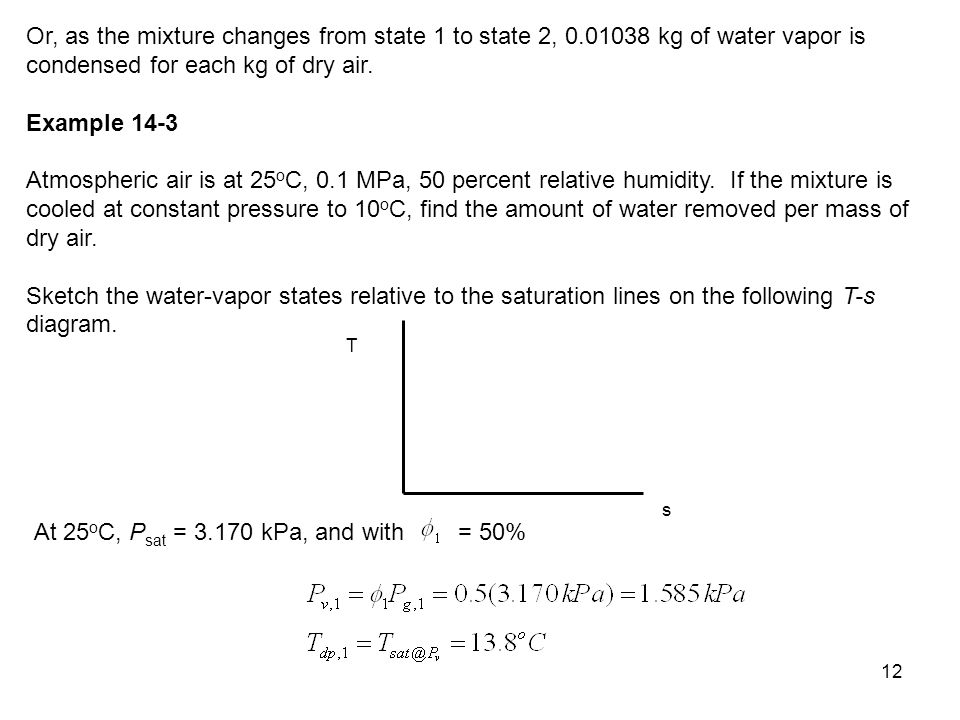 13 Therefore, when the mixture gets cooled to T 2 = 10 o C < T dp,1, the mixture is saturated, and = 100%.