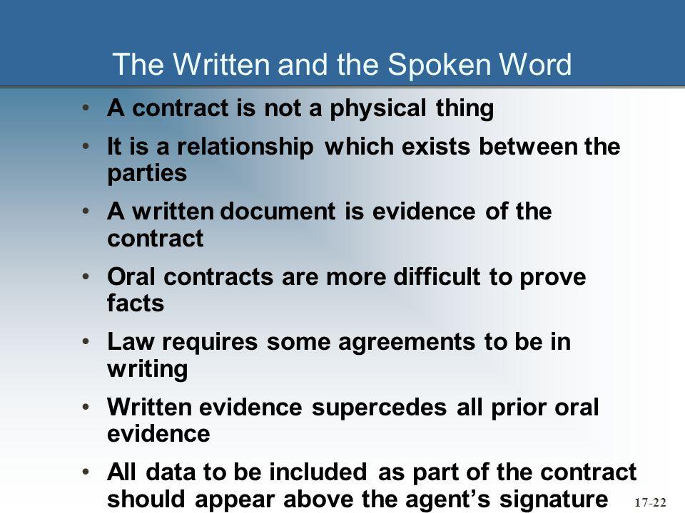 17-23 Letters of Intent Letters of Intent and Memorandums of Understanding – precontracts to cover informal agreements.
