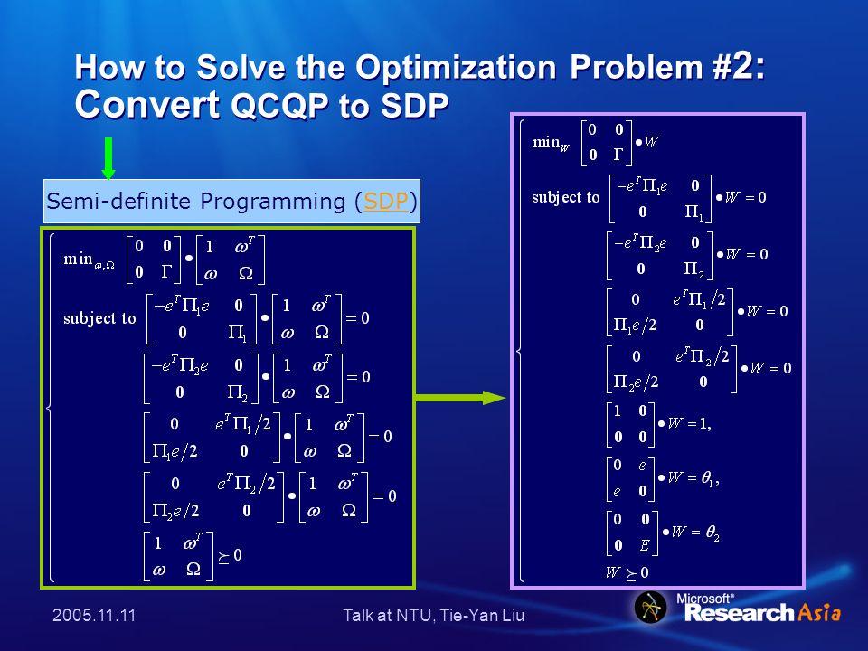 2005.11.11Talk at NTU, Tie-Yan Liu The Final Algorithm (CGBC) 1.Set the parameters β, θ 1 and θ 2.