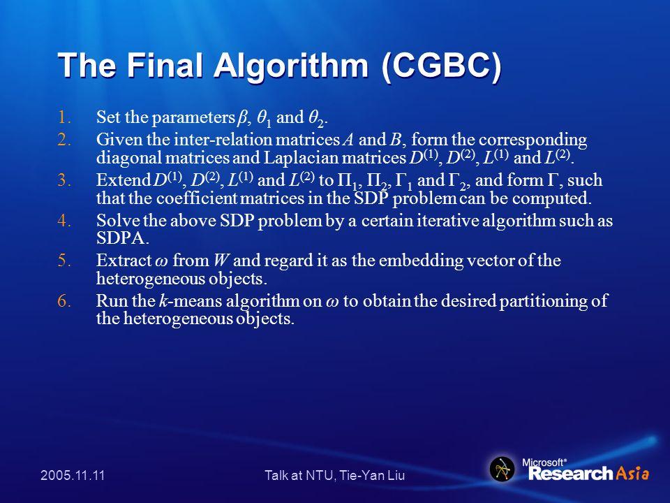 2005.11.11Talk at NTU, Tie-Yan Liu CGBCs Extension to the k-star- structured HHCC