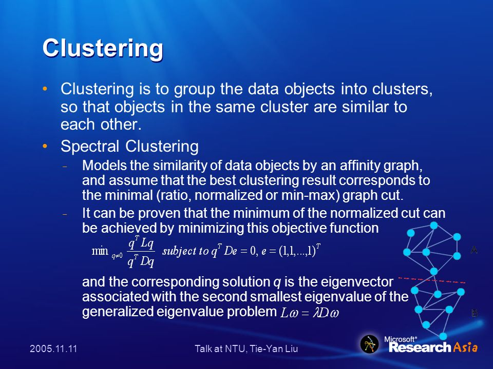 2005.11.11Talk at NTU, Tie-Yan Liu Co-Clustering Co-clustering is to group two types of objects into their own clusters simultaneously.