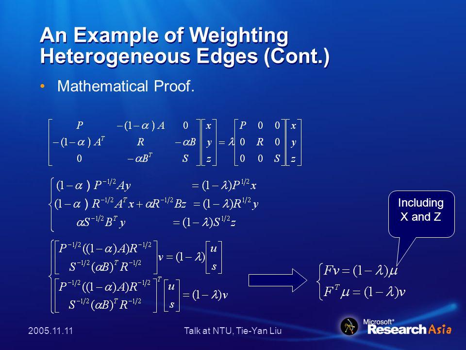 2005.11.11Talk at NTU, Tie-Yan Liu Order Degradation 3-Order Heterogeneous graph 2-Order Heterogeneous graph