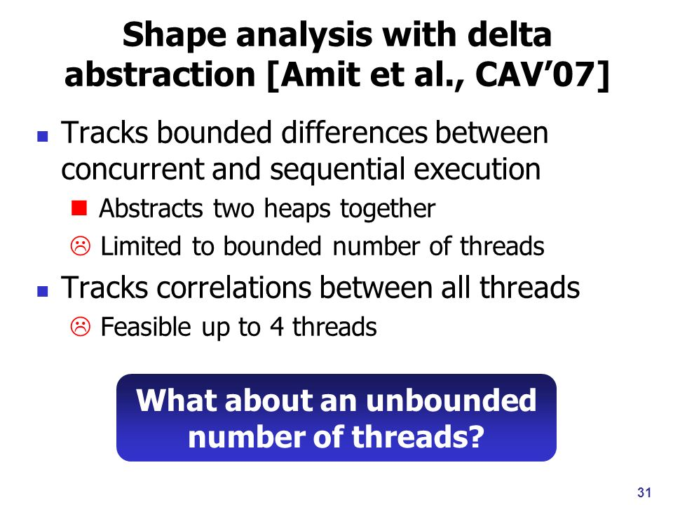 32 Our approach Tracks bounded differences between concurrent and sequential execution per thread Handles unbounded number of threads Abstracts correlations between threads Thread-modular characteristics