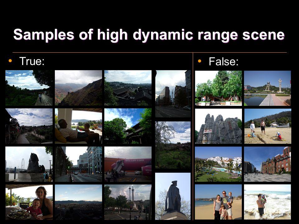 High dynamic range scene True HDR scene# PercentageFalse HDR Scene 19013.87%126 #: True HDR scene images / Test Images Test Imagesdetected sky imagePercentage 137031623%