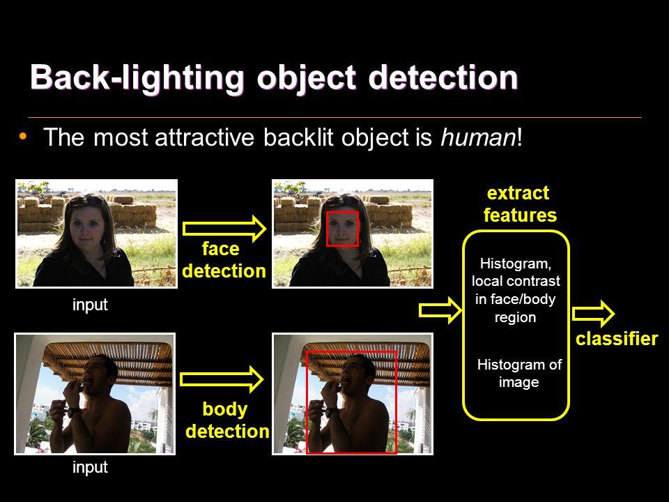 Samples of back-lighting object True: False: