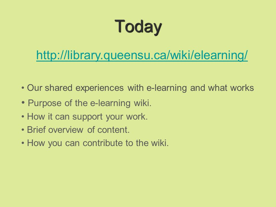 My e-Learning Experiences Handouts – screenshots – workbooks – PowerPoints to web Tutorials with ScreenCam – Macromedia Captivate Online certificate course for Queens faculty on Foundations for Learning with Centre for Teaching and Learning Information literacy modules embedded in online WebCT courses Full online course – Honours Specialist Librarianship Required modules for 80 faculty who teach at Faculty of Education: Teaching and Learning in an Online Environment; Learning technology teams -- solutions for specific courses