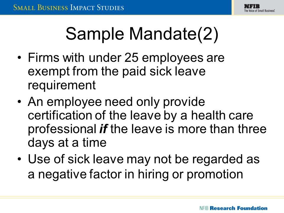 Cost Factors - Mandated Sick Leave Management Time: 10 hrs.