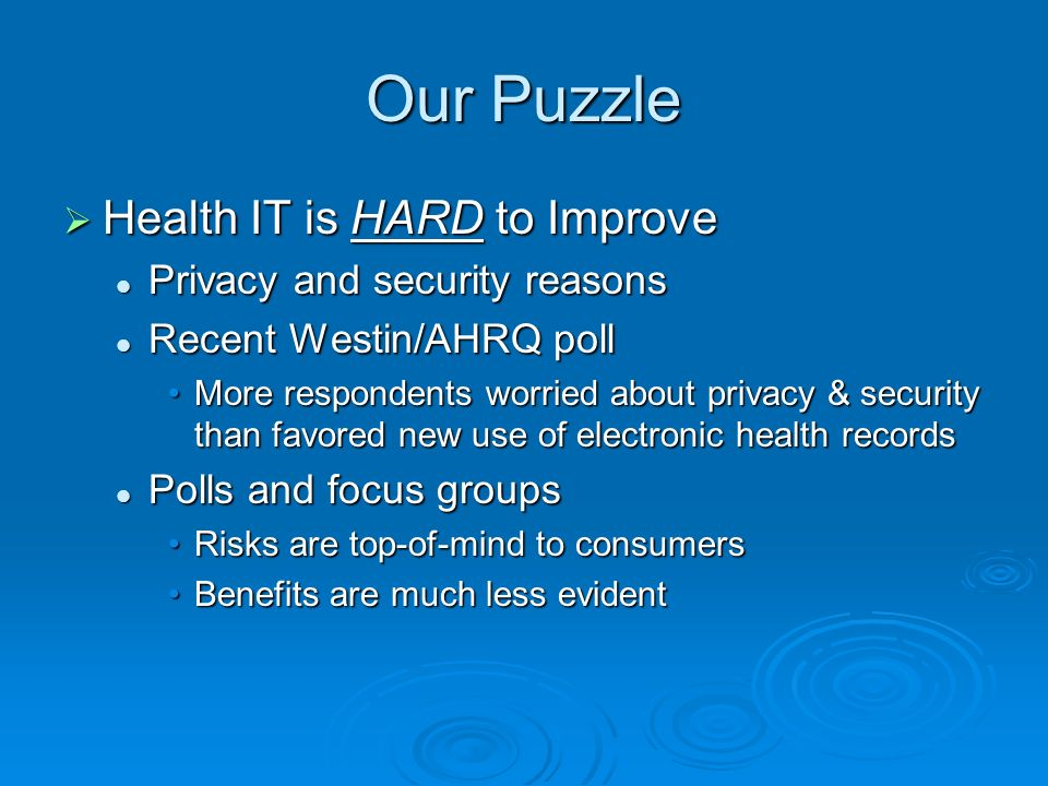 Overview HIPAA and my background HIPAA and my background Electronic Medical Records, Connecting for Health & David Brailer Electronic Medical Records, Connecting for Health & David Brailer National health IDs vs.