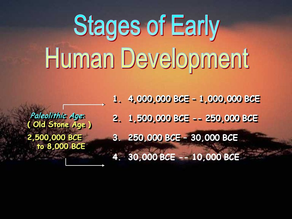 Paleolithic --> Old Stone Age 2,500,000 BCE – 10,000 BCE hunting (men) & gathering (women) small bands of 20-30 humans NOMADIC (moving from place to place) Made tools