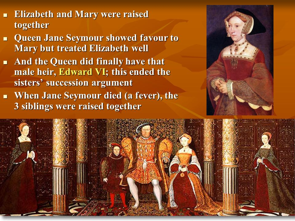Henry VIII went on to marry Anne of Cleves – it only lasted 6 months, and Henry got out of it by saying he was impotent on the wedding night… Henry VIII went on to marry Anne of Cleves – it only lasted 6 months, and Henry got out of it by saying he was impotent on the wedding night… Henry then married Catherine Howard, a 17 year old, who was soon beheaded for adultery Henry then married Catherine Howard, a 17 year old, who was soon beheaded for adultery So Henry married for the final time, to Catherine Parr – she got along well with all the children So Henry married for the final time, to Catherine Parr – she got along well with all the children Elizabeth stayed the 3 rd lady of the court – only the Habsburgs still called the whores daughter Elizabeth stayed the 3 rd lady of the court – only the Habsburgs still called the whores daughter