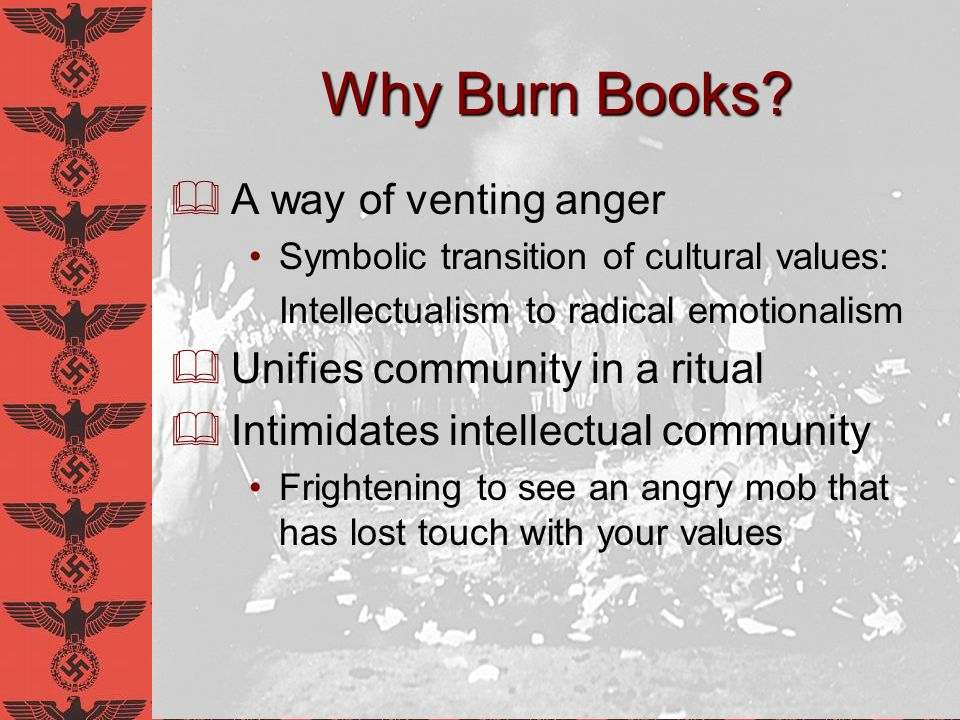 The Burning of the Books May 10, 1933 Nazi Party declares that any book which acts subversively on our future or strikes at the root of German thought, the German home and the driving forces of our people...
