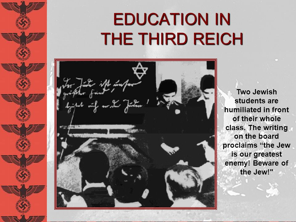 The Nazi Classroom The Curriculum Racial biology and eugenics Celebratory German history Discipline, duty, obedience, courage Physical training Body over mind No concern for the spirit of academics The Jewish Nose is Wide at the End and Looks like the Number Six