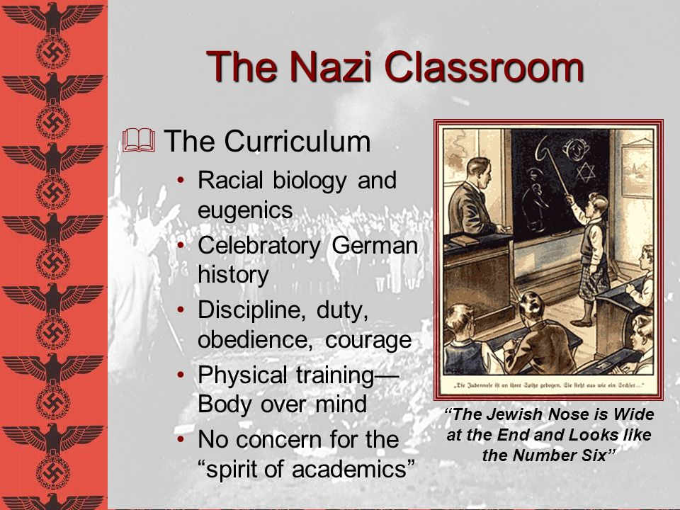 The Nazi Classroom Task of the Educator Strengthen the soul and spirit of youth Instill nationalism in younger generation Prepare students for service, and even self-sacrifice to the Reich NO INTENTION OF EDUCATING THE INDIVIDUAL FOR THE SAKE OF THE INDIVIDUAL