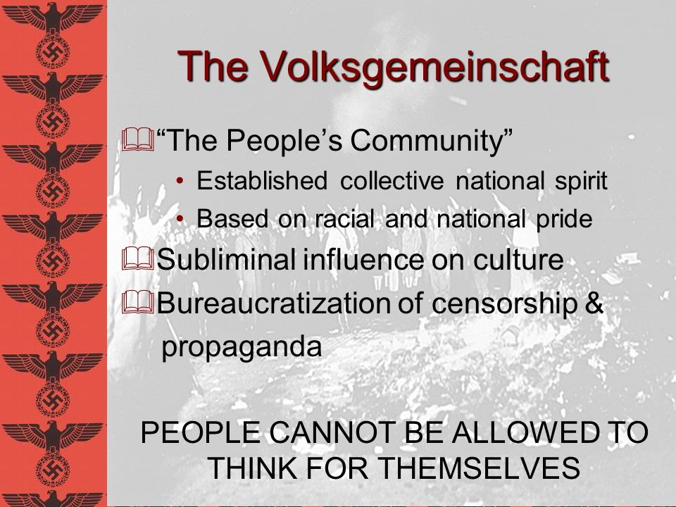 The Reichskulturkammer Reich Culture Chamber Managed by Hans Hinkel Goals: Promote Good Culture Root out, ban Bad Culture Compulsory membership for all members of German media HEIGHT OF ANTI-INTELLECTUALISM