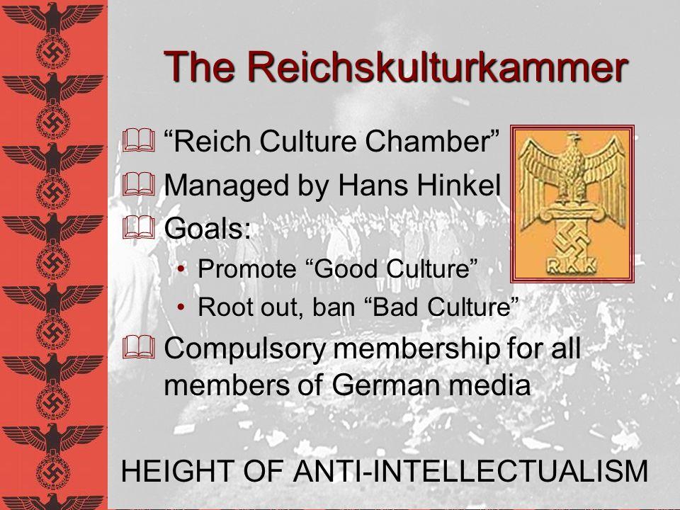 Divisions of the Reichskulturkammer Reichspressekammer (press) Reichsfilmkammer (film) Reichsrundfunkkammer (radio) Reichsmusikkammer (music) Reichsschriftumskammer (literature) Reichstheaterkammer (theater) Reichskammer der bildenden künste (fine arts)