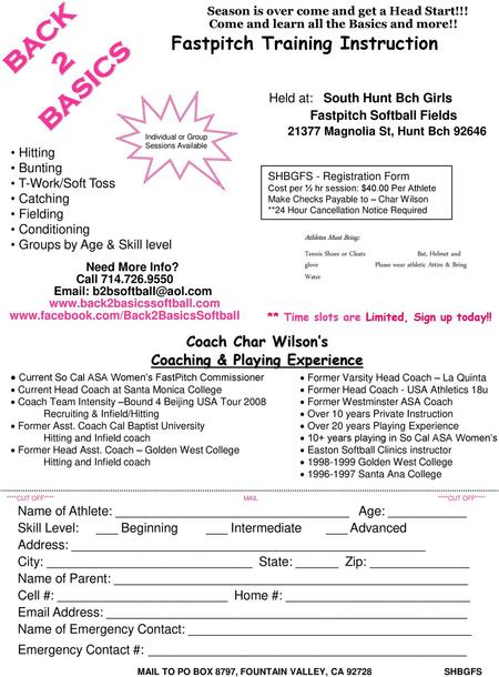 BACK BASICS 2 Fastpitch Training Instruction Coach Char Wilson's