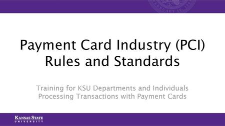 Payment Card Industry (PCI) Rules and Standards
