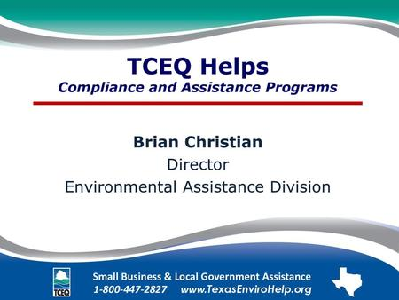 TCEQ Helps Compliance and Assistance Programs