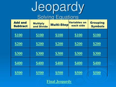 Jeopardy Solving Equations