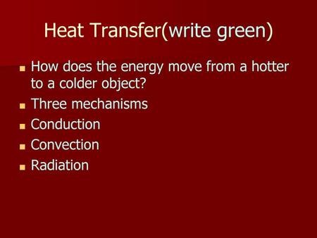Conduction Heat transfer in solids (contact heating)