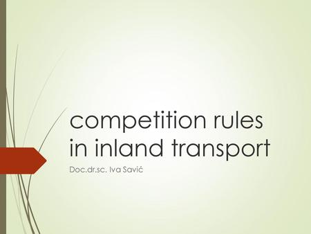 competition rules in inland transport