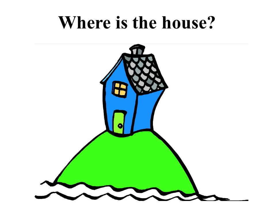 The house is ______ ______ hill. Write the answer on your paper.