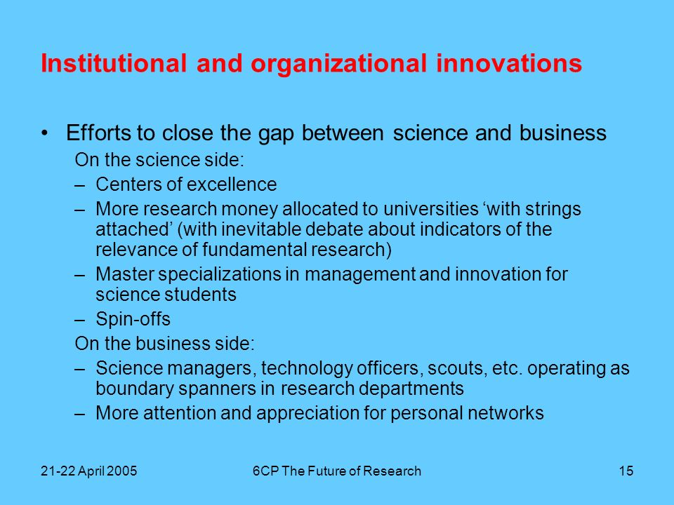 21-22 April 20056CP The Future of Research16 Institutional and organizational innovations Efforts to close the gap between applied research and business Generating new companies –Incubators –Open Innovation campus –Corporate venturing Generating new business –Innovation managers/marketeers with a science/technology background, not located in divisions or business units but in corporate staff interacting closely with research