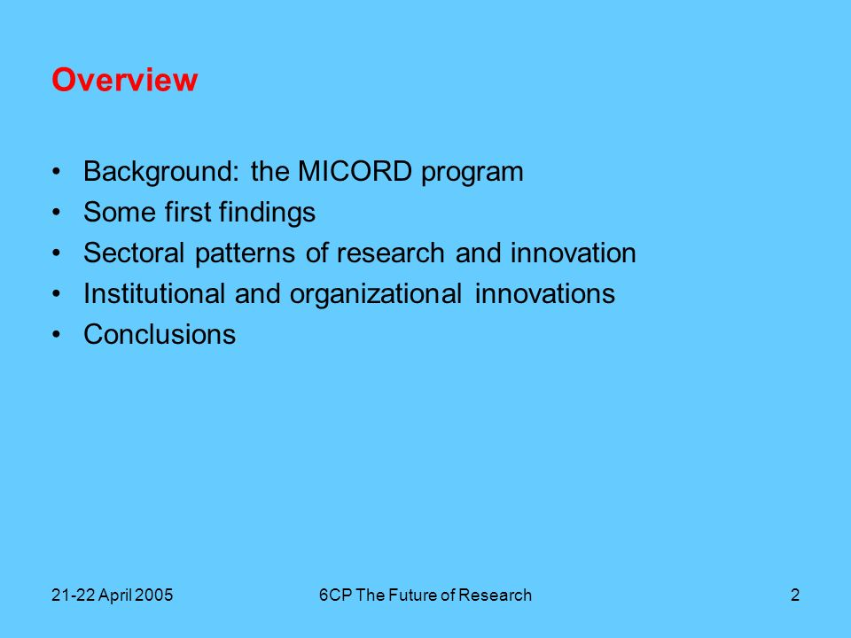 21-22 April 20056CP The Future of Research3 Background Teaching management and innovation to science students Research Program MICORD –Managing Innovation, Collaboration and Outsourcing in Research & Development –Supported by Akzo Nobel, Dutch Polymer Institute, Ministry of Education, Culture and Science, Ministry of Economic Affairs, NWO, Philips, Netherlands Genomics Initiative, Shell, TNO Investigating the gap between (university) science and business –The disappearance of corporate research –The rise of programmed research at universities