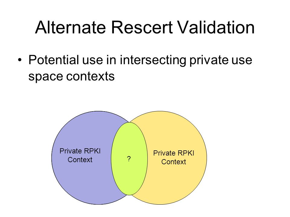 Alternate Rescert Validation This really could be a Very Bad Idea.