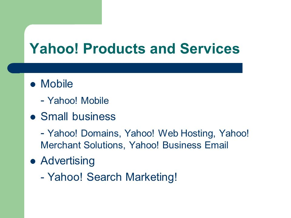Other Yahoo.Products and Services Family Accounts Fire Eagle Flickr My Yahoo.