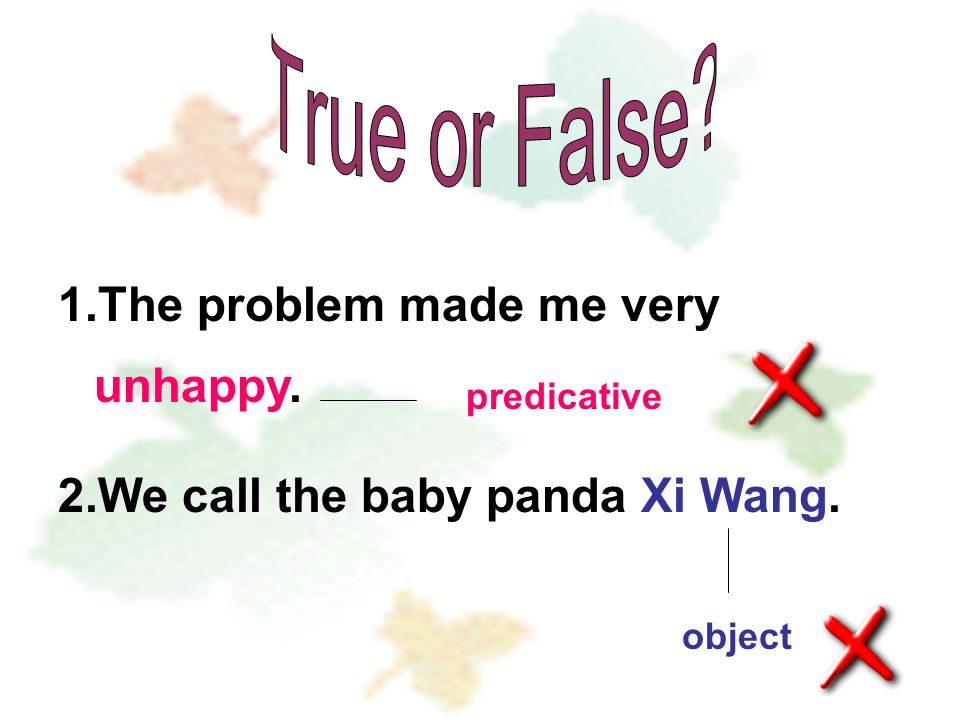 1.The problem made me very unhappy. 2.We call the baby panda Xi Wang. object complement