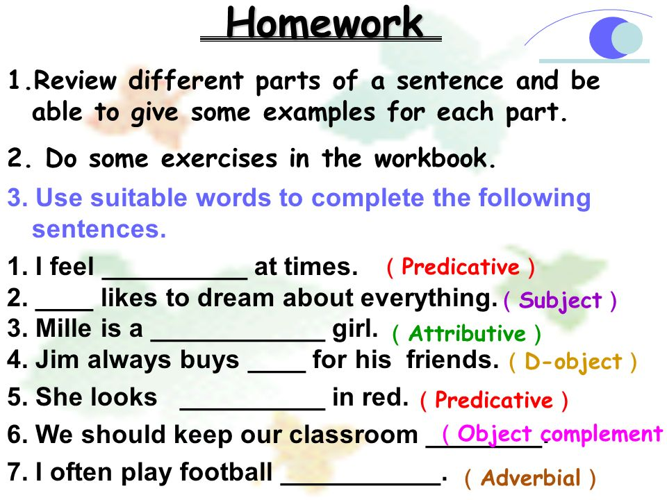 Use suitable words to complete the following sentences.