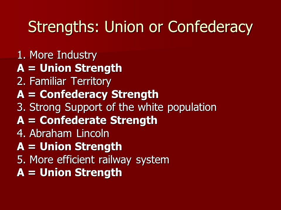 Strengths: Union or Confederacy 6.Robert E. Lee A = Confederate Strength 7.