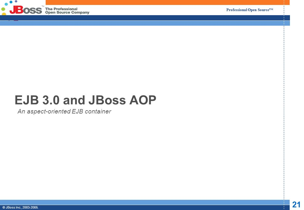 © JBoss, Inc.2003-2005. 22 Professional Open Source © JBoss Inc., 2003-2005.