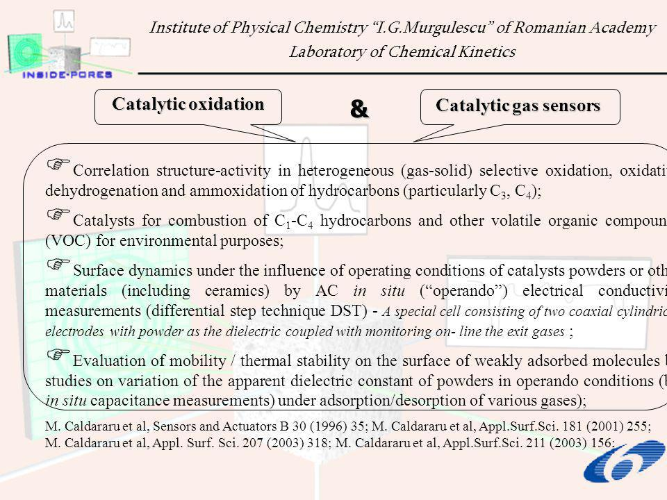Catalyts: Bulk (single or multicomponet) oxides; Supported oxides; Oxide supported noble metal (Pt, Pd) catalysts; Oxide supports: -Al 2 O 3, TiO 2, SiO 2, ZrO 2, CeO 2 and CeO 2 -ZrO 2 Information to be obtained: Examples: Studying the effects of residual or atmospheric moisture in facilitating/screening adsorption of some reactive gases; Gas sensing (SnO 2, TiO 2 based compounds).