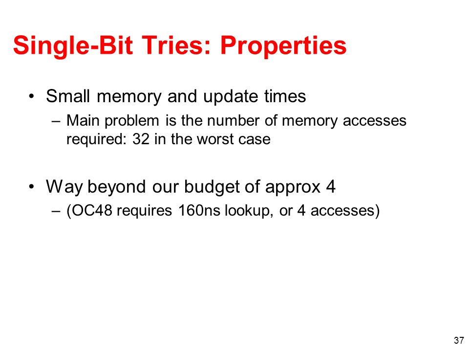 38 Direct Trie When pipelined, one lookup per memory access Inefficient use of memory 0000……00001111……1111 02 24 -1 24 bits 8 bits 0 2 8 -1